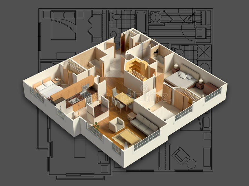 обеспеченный 3D интерьер дома на светокопии иллюстрация штока