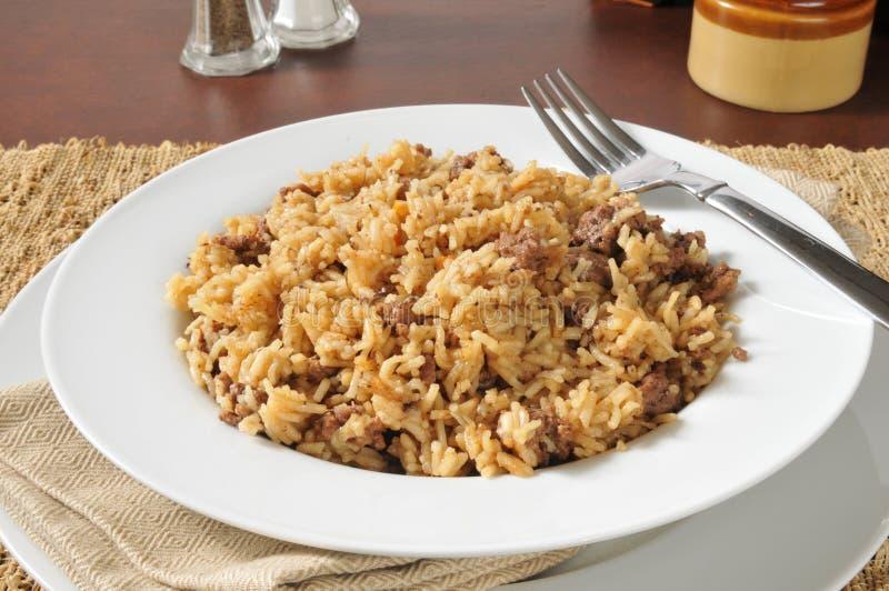Обедающий гамбургера и риса стоковые фото