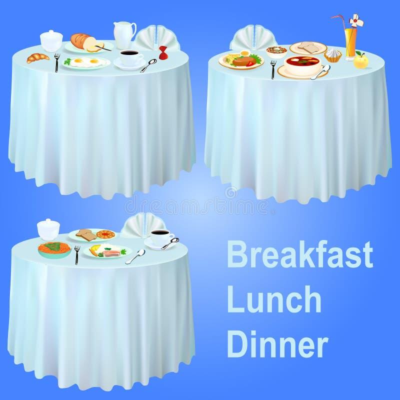 Обедающий обеда завтрака на таблице с скатертью иллюстрация штока
