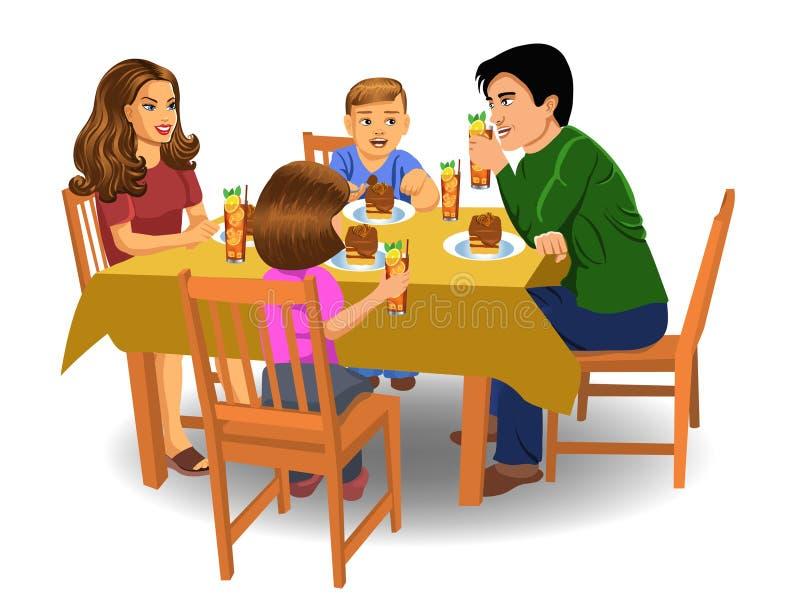 Обедающий семьи иллюстрация штока