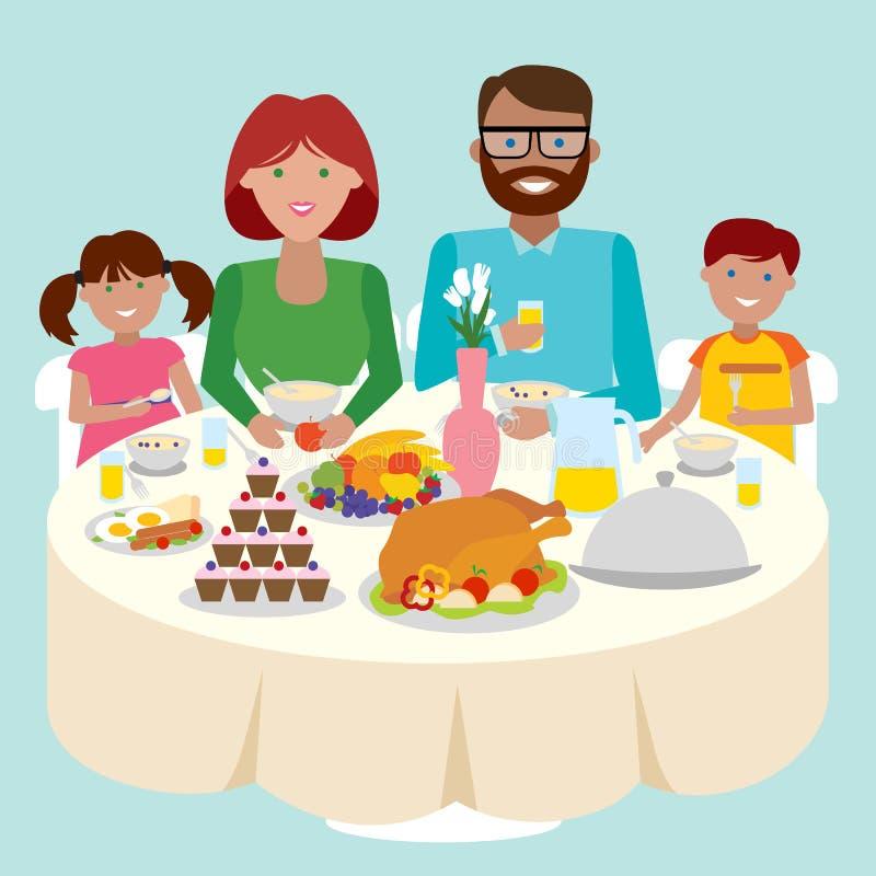 Анимация семья за столом, прикольные