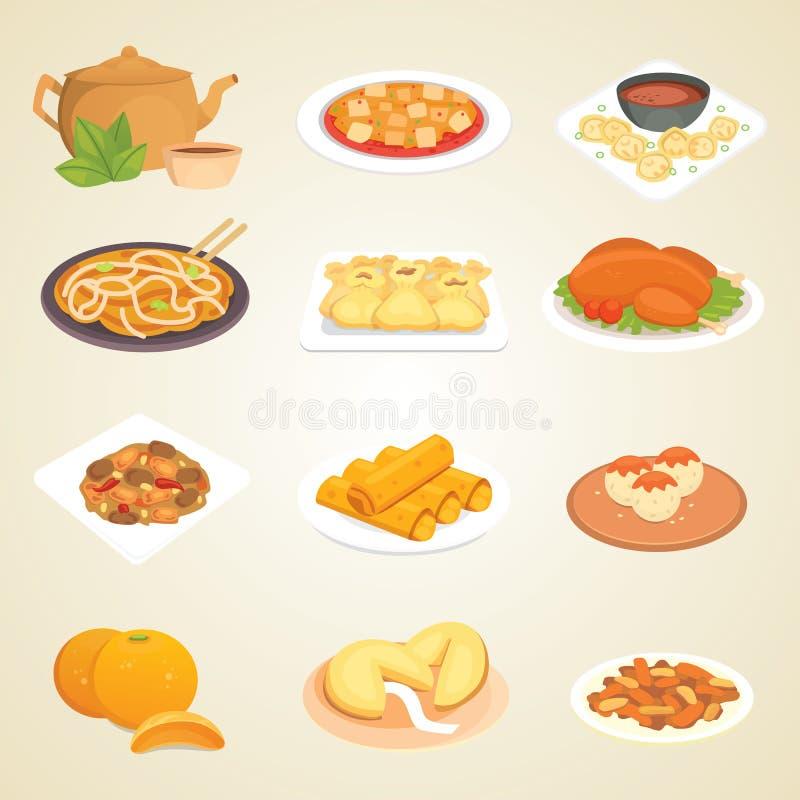 Обед фарфора еды обедающего Азии кухни китайского традиционного блюда еды очень вкусный сварил иллюстрацию вектора иллюстрация вектора