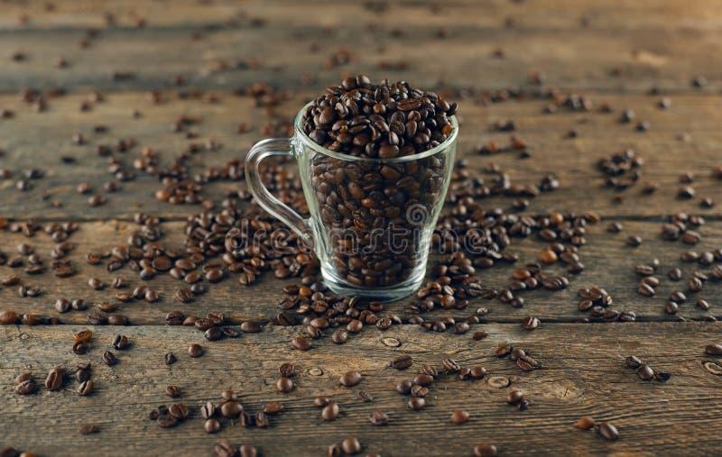 Обжаренные кофейные бобы в стекле стоковые фотографии rf