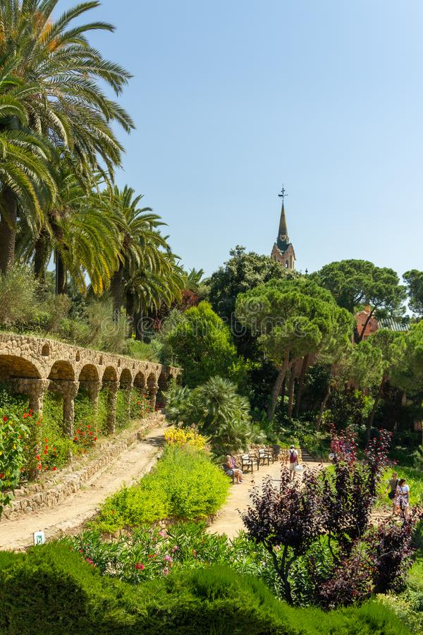 Обзор над парком Güell стоковое фото