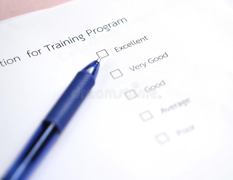 Обзор программы тренировки оценки стоковое фото rf