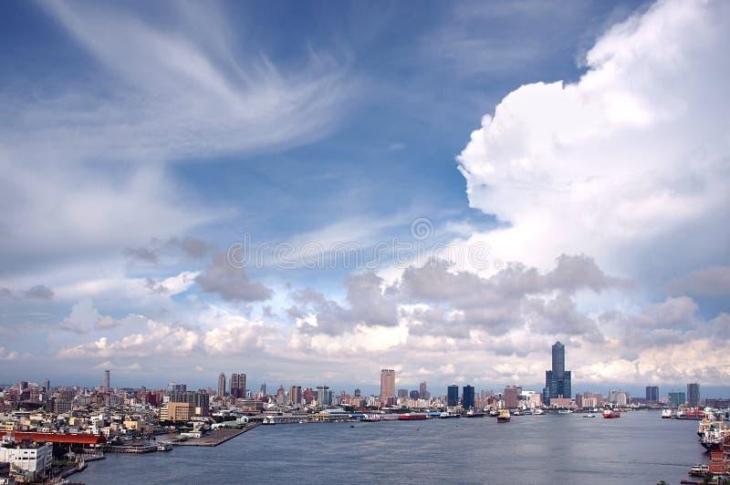обзор kaohsiung гавани стоковая фотография