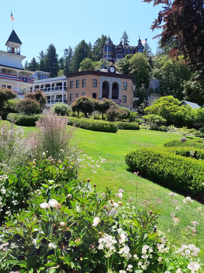 Обильный сад в американском курортном городе стоковое изображение rf