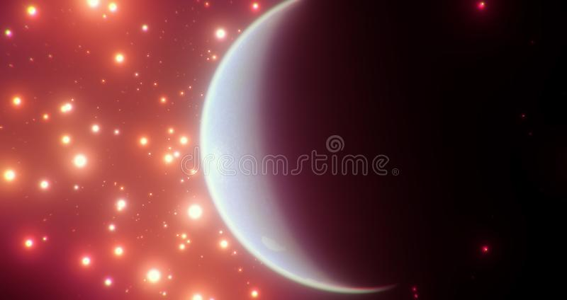 Обитаемый голубой мир среди яркого оранжевого красного цвета играет главные роли со своей темной стороной очень видимой иллюстрация штока