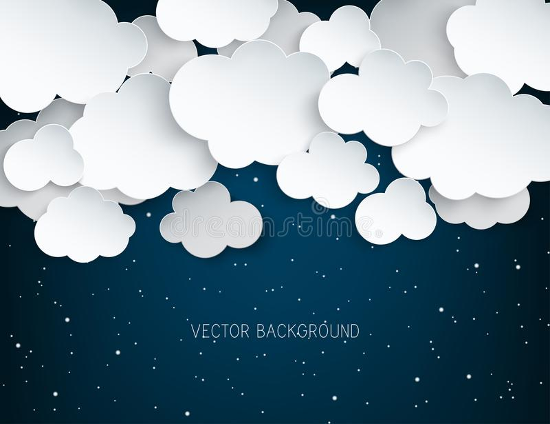 Облака бумажного искусства пушистые и сияющие звезды в полночи иллюстрация вектора