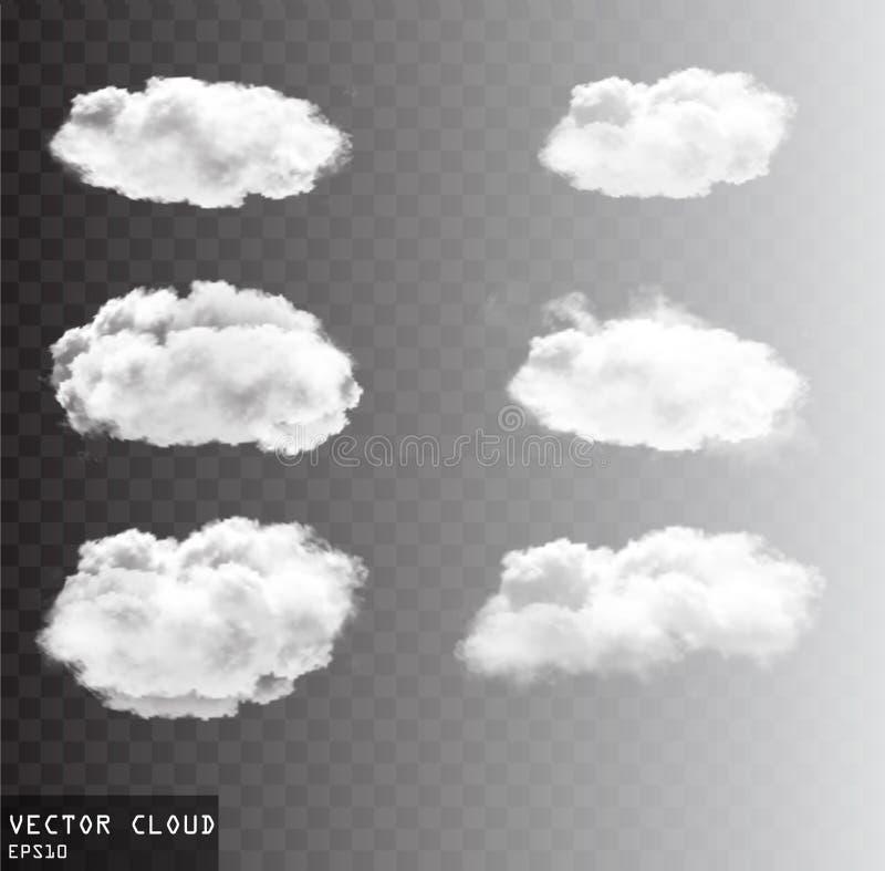 Облака вектора над прозрачным собранием предпосылки иллюстрация вектора