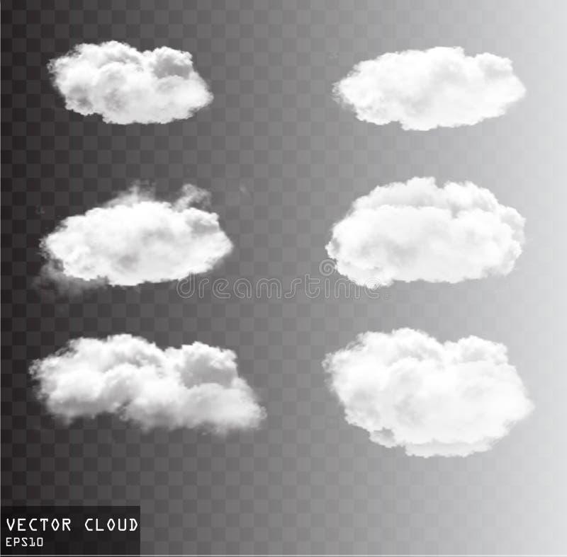 Облака вектора над прозрачным собранием предпосылки иллюстрация штока