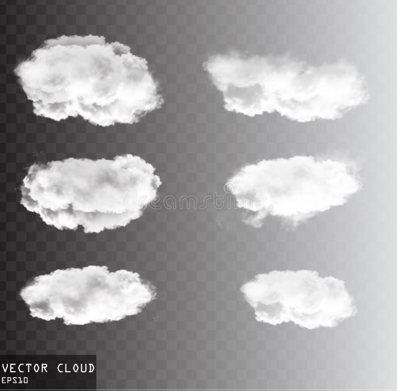 Облака вектора над прозрачным собранием предпосылки бесплатная иллюстрация