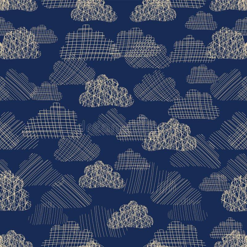 Облака в картине вектора неба безшовной Бежевые белые силуэты текстурированных облаков на голубой предпосылке Ненастное облачное  бесплатная иллюстрация