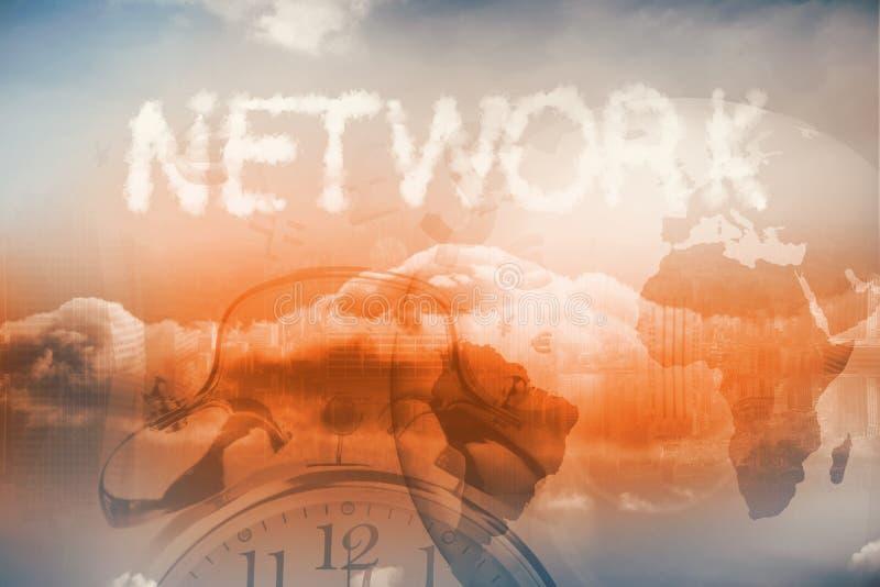 Облака говоря вне сеть по буквам иллюстрация вектора