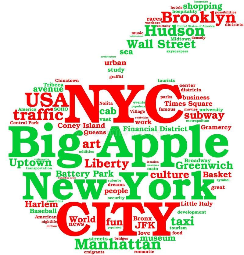 облака города яблока бирка york большого новая бесплатная иллюстрация
