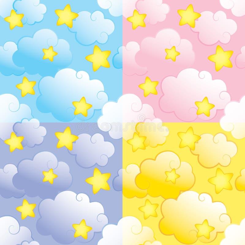 облака делают по образцу безшовные звезды иллюстрация вектора