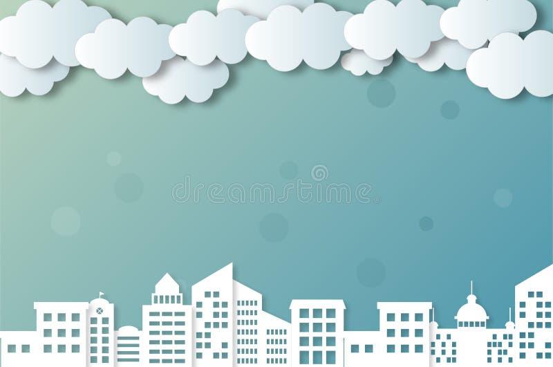 Облака и города вектора бесплатная иллюстрация