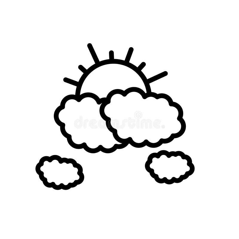 Облака и знак и символ вектора значка солнца изолированные на белых предпосылке, облаках и концепции логотипа солнца иллюстрация штока