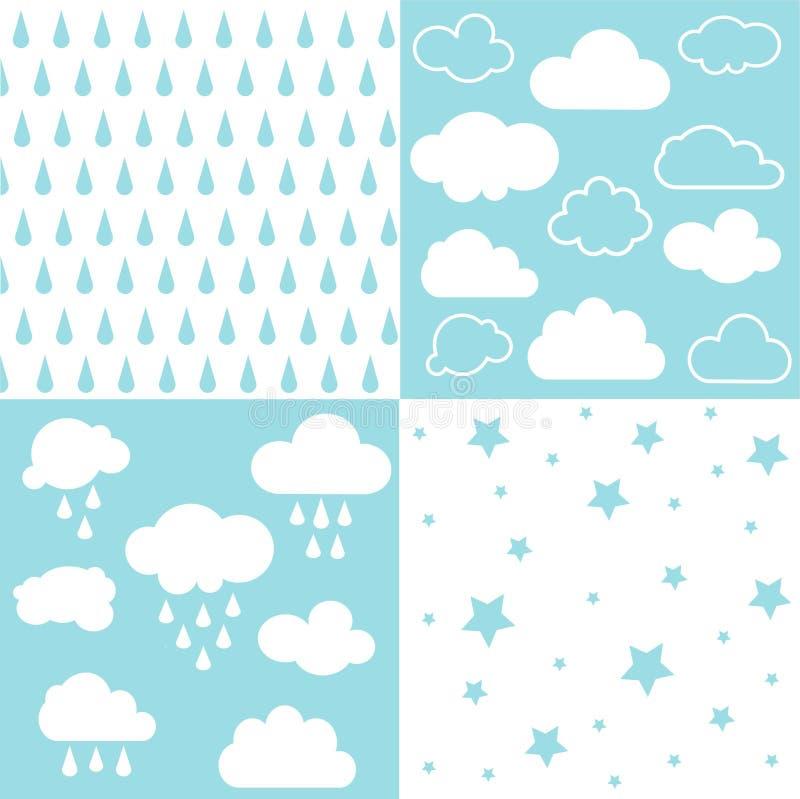 Облака и картины дождя безшовные иллюстрация штока