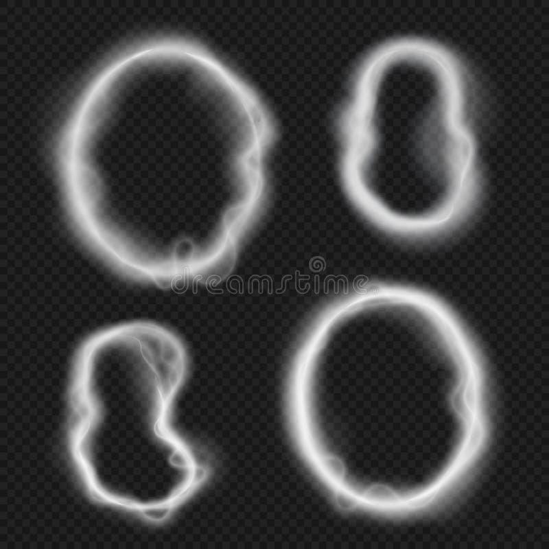 Облака кольца дыма сигареты Кальян, иллюстрация вектора пара vape круглая изолированная на прозрачной предпосылке бесплатная иллюстрация