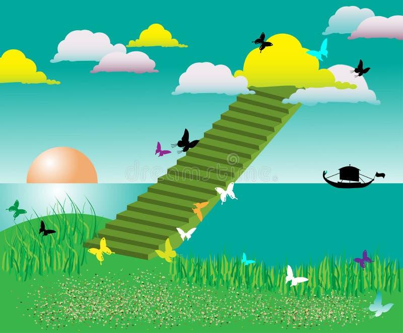 облака покрасили stairway иллюстрация штока