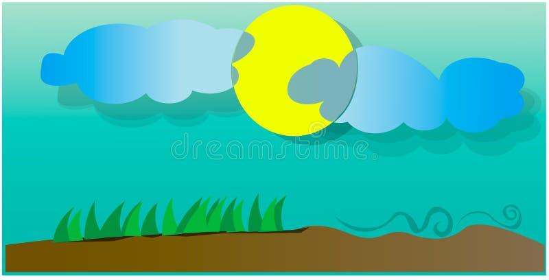 Облака покрывают солнце иллюстрация штока