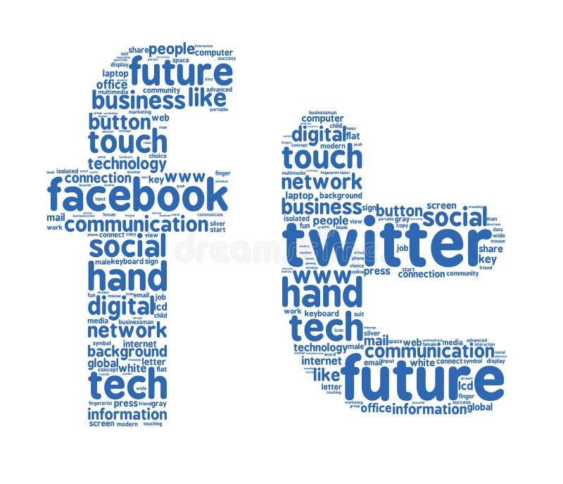 Облака слова twitter Facebook