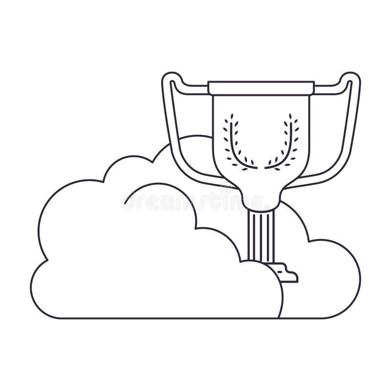 Облака со значком изолированным трофеем иллюстрация штока