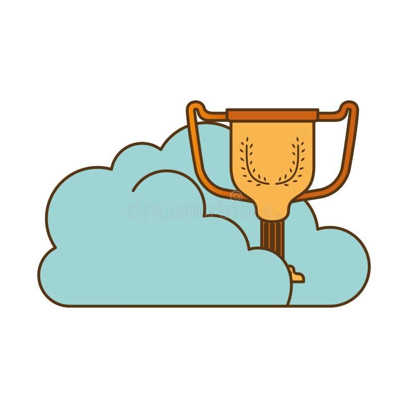 Облака со значком изолированным трофеем бесплатная иллюстрация