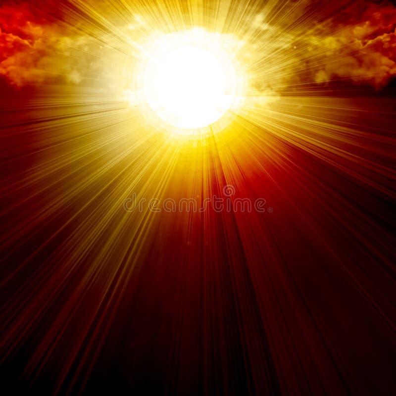 Облака с интенсивным солнечним светом иллюстрация штока
