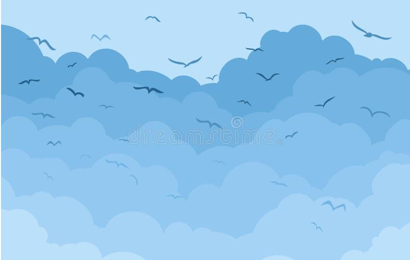 Облака с птицами иллюстрация вектора