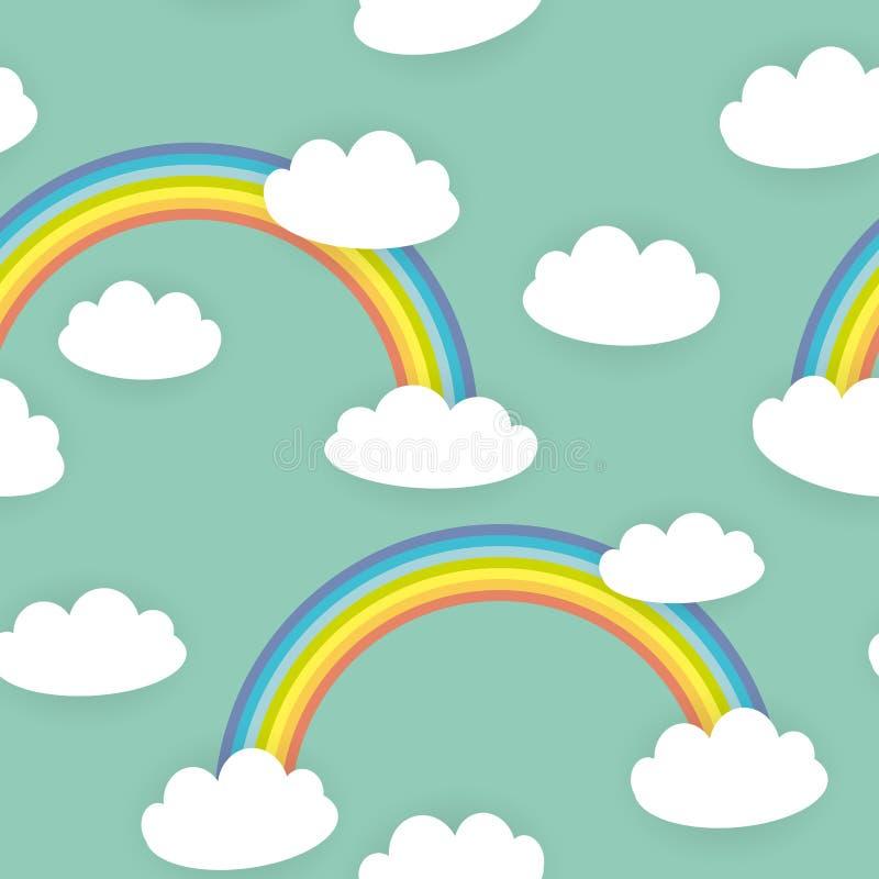 Облака Kawaii белые, радуга Безшовная картина на голубой предпосылке мяты Смогите быть использовано для тканей, обоев, вебсайтов  иллюстрация вектора
