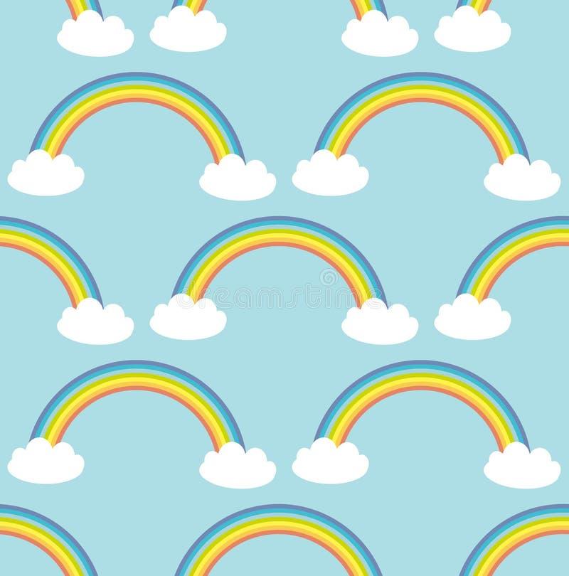 Облака Kawaii белые, радуга безшовная картина на голубой предпосылке Смогите быть использовано для тканей, обоев, вебсайтов векто иллюстрация штока