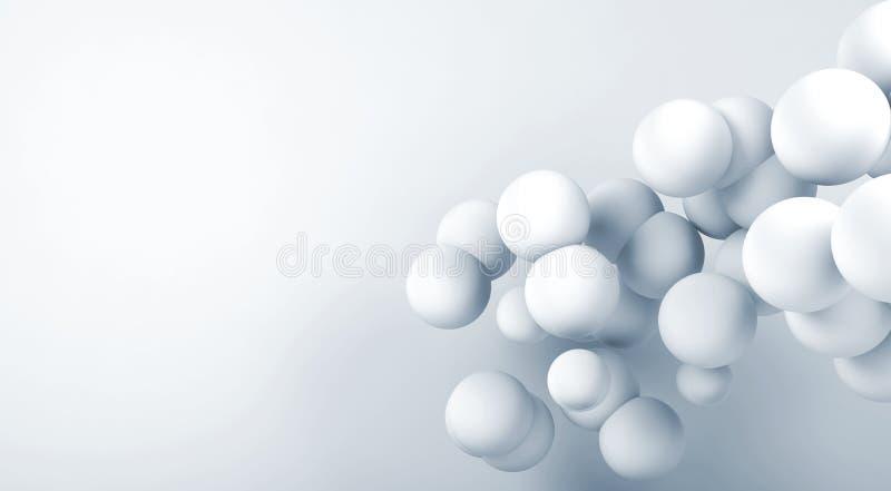 Облако белых абстрактных сфер летая 3 d иллюстрация штока