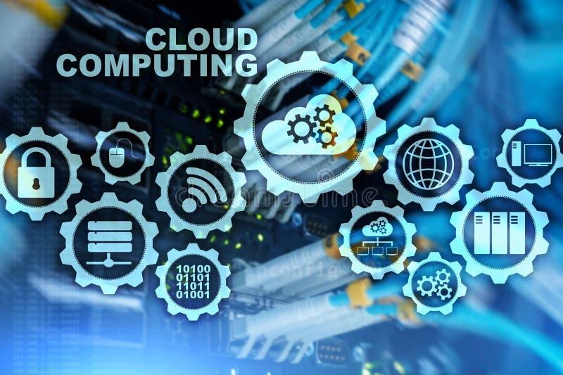 Облако вычисляя, концепция взаимодействия технологии на предпосылке  иллюстрация штока