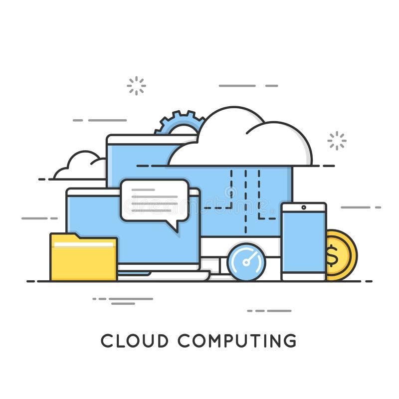 Облако вычисляя, хранение данных, веб-службы Плоская линия концепция стиля искусства Editable ход иллюстрация штока