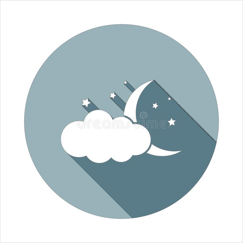 Облако, звезда, значок луны в плоском длинном стиле тени Одно значка собрания сети можно использовать для UI, UX иллюстрация вектора