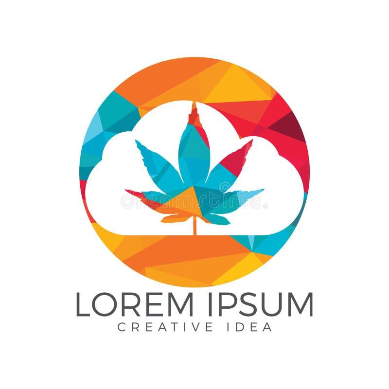 Облако или дым с дизайном логотипа лист марихуаны иллюстрация штока