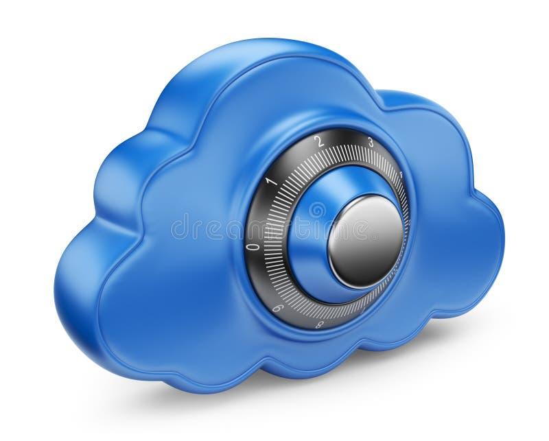 Облако и замок. Обеспечьте принципиальную схему. изолированная икона 3D иллюстрация вектора