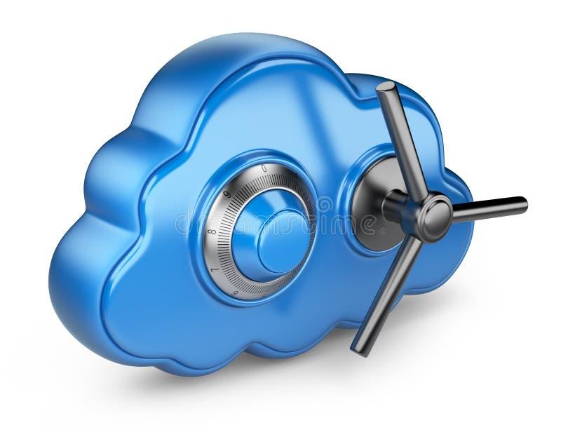 Облако и замок. Обеспечьте принципиальную схему. изолированная икона 3D бесплатная иллюстрация