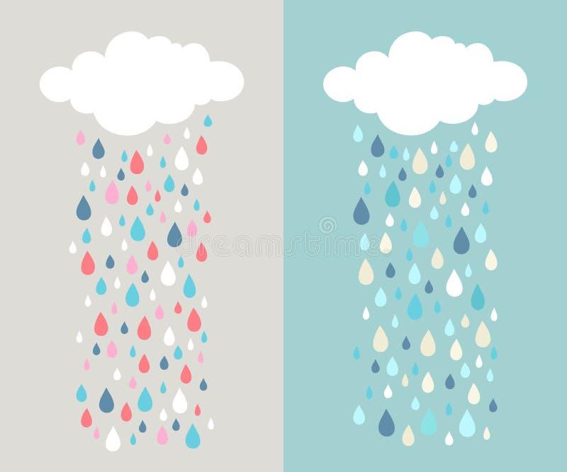 Облако и красочные дождевые капли бесплатная иллюстрация