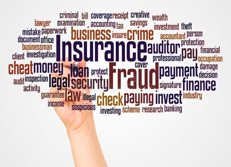 Облако и рука слова очковтирательства страхования с концепцией отметки бесплатная иллюстрация