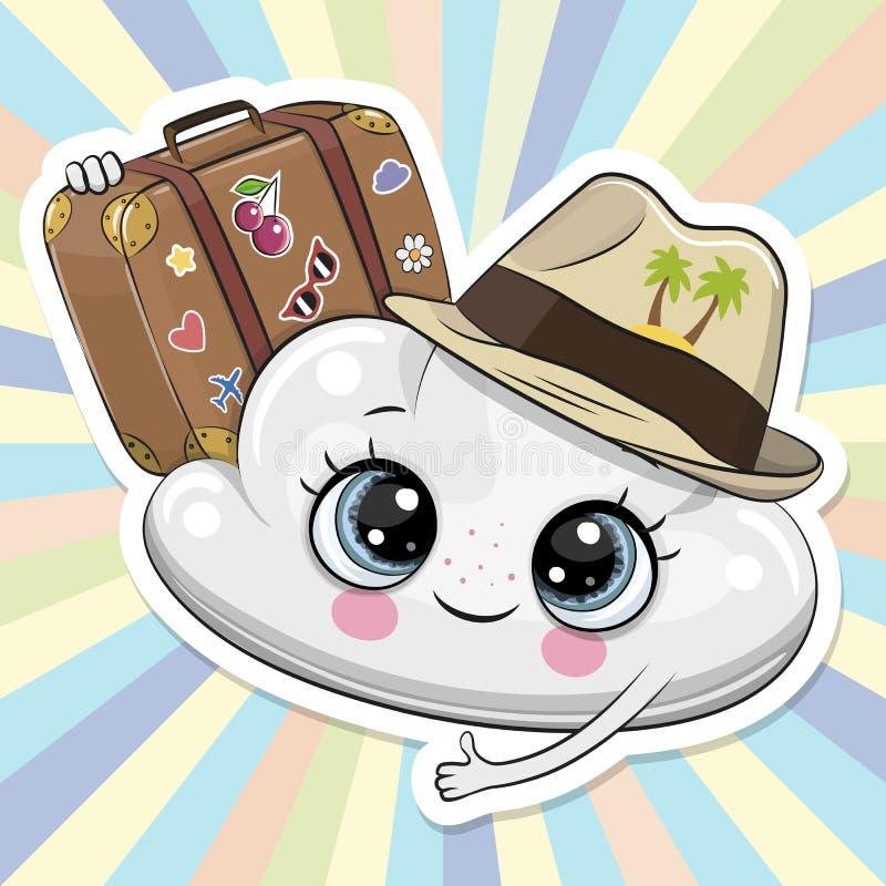 Облако мультфильма в шляпе с багажом иллюстрация вектора