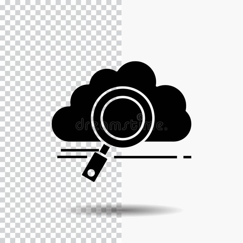 облако, поиск, хранение, технология, вычисляя значок глифа на прозрачной предпосылке Черный значок бесплатная иллюстрация