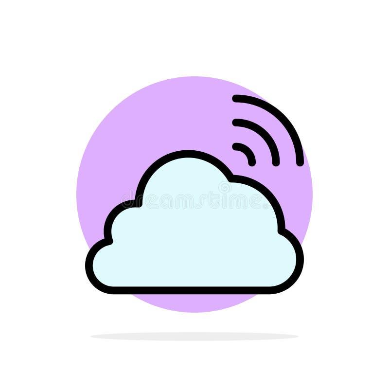 Облако, радуга, небо, весна, предпосылки круга погоды значок цвета абстрактной плоский иллюстрация вектора