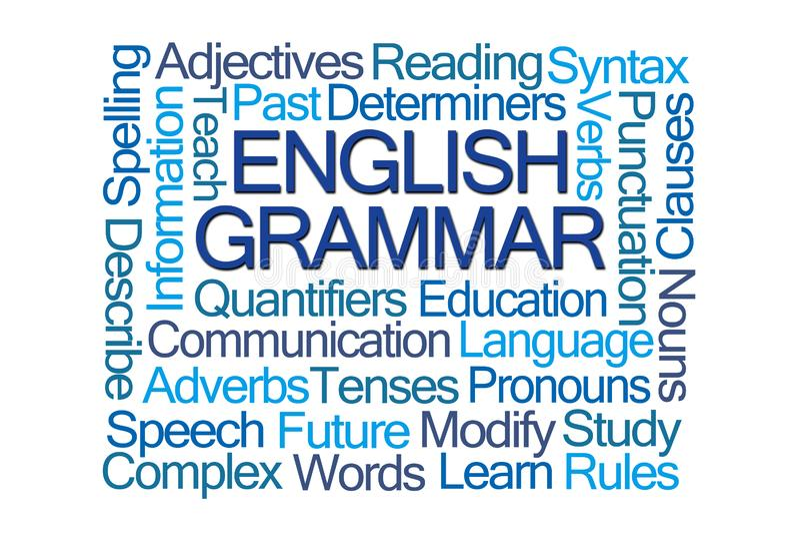 Облако слова английской грамматики иллюстрация вектора
