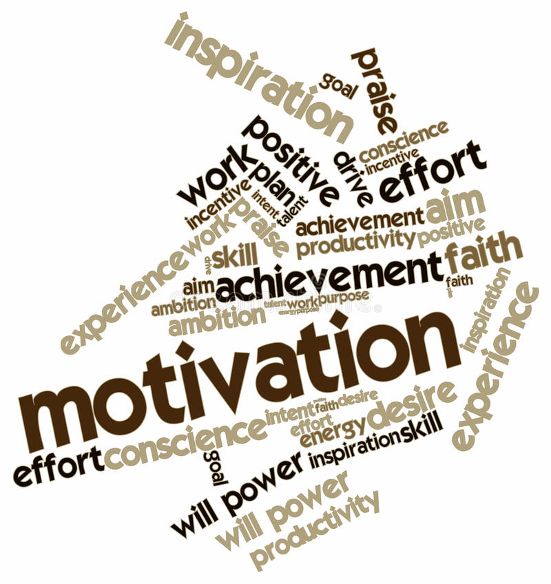 Облако слова для мотивировки иллюстрация штока