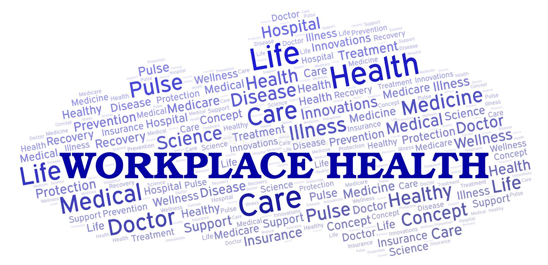 Облако слова здоровья рабочего места иллюстрация штока