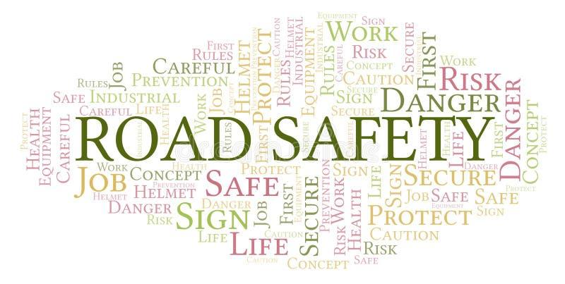 Облако слова обеспечения безопасности на дорогах иллюстрация штока