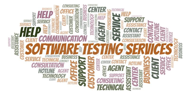 Облако слова обслуживаний программного обеспечения испытывая иллюстрация штока